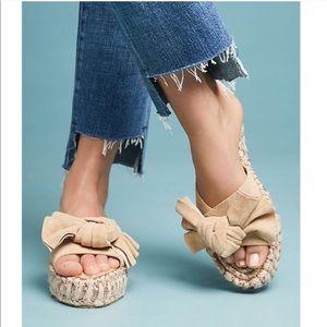 J/SLIDES Suede Espadrille Bow Sandal NIB 10 Tan